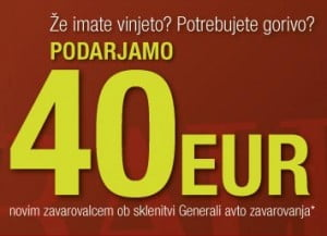 Vinjeta za 55 evrov Generali avto zavarovanje